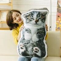 创意3d仿真猫咪公仔少女心毛绒玩具超萌狗狗睡觉抱枕可爱玩偶女生创意公仔