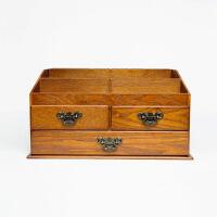 桌面收纳盒竹木本记 大容量桌面木质化妆品收纳盒木制家用梳妆台护肤品置物架带镜B