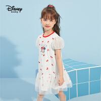 【2件2.3折:64.1元】迪士尼女童连衣裙2021新款夏装公主裙儿童夏款爱莎洋气纯棉裙子