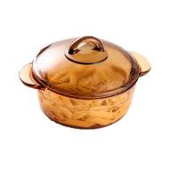 乐美雅 玻璃锅直烧锅1.5L乐美雅琥珀透明玻璃锅汤锅炖锅透明锅宝 炖锅 汤锅