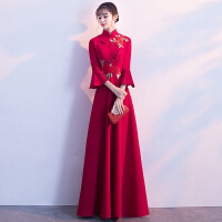 中式敬酒服新娘2018结婚新款秋冬季长袖长款红色旗袍显瘦进酒礼服