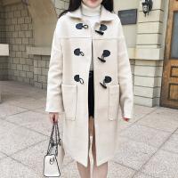 中长款毛呢外套女韩版2018秋冬新款宽松牛角扣外套呢子大衣外套女
