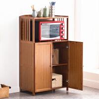 厨房置物架微波炉架子烤箱架碗柜落地多层收纳储物架实木楠竹厨柜
