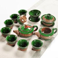 浮雕冰裂功夫茶具套装 陶瓷家用整套 茶壶茶杯盖碗茶道零配 浮雕冰裂茶具套装12件套