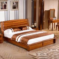 全实木床乌金木双人床1.5/1.8米现在中式高箱储物床婚床卧室家具 1800mm*2000mm 框架结构