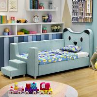 【品牌特惠】布艺床带护栏单人床带步梯拼接床小户型小孩子床实木宝宝边床 其他 不带
