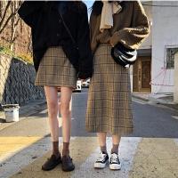 经典格子裙春装韩版复古高腰短裙A字包臀长裙女学生显瘦半身裙