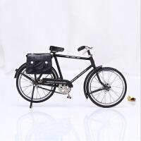 复古摆件桌上模型家装装修饰品家具家居店铺创意仿真自行车小摆设 黑色 带包