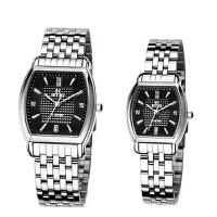 艾奇(EYKI)方形钢带手表情侣表 简约时尚手表 日历 镶钻刻度 石英表情侣对表 8582