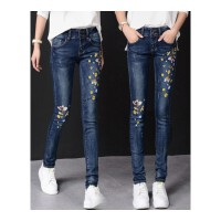 【刺绣】牛仔裤女士小脚裤弹力修身铅笔裤高腰绣花长裤加绒加厚
