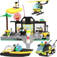 橙爱 启蒙玩具 消防中心模型海岸拯救所 警察搜救系列拼装积木塑料拼插益智儿童玩具男孩礼物