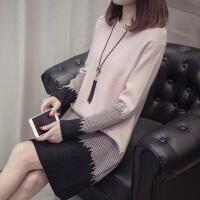 中长款针织衫女韩版圆领套头时尚撞色打底衫冬加厚女装长袖毛衣裙
