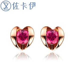 佐卡伊18K玫瑰金16分红宝石彩色宝石耳钉耳饰 时尚珠宝送女友