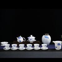 唐丰玉白瓷茶具套装青花蓝白茶壶盖碗家用泡茶器具斗笠杯描金杯垫