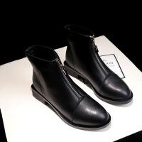 小短靴女新款秋冬季韩版百搭短筒粗跟英伦风女鞋加绒马丁靴子冬