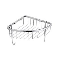 浴室挂件不锈钢浴室转角架带挂钩角篮置物架 937139 不锈钢角篮