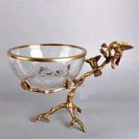 进口美式家具饰品 仿古铜制品工艺品 创意玻璃水果盘 水果盘