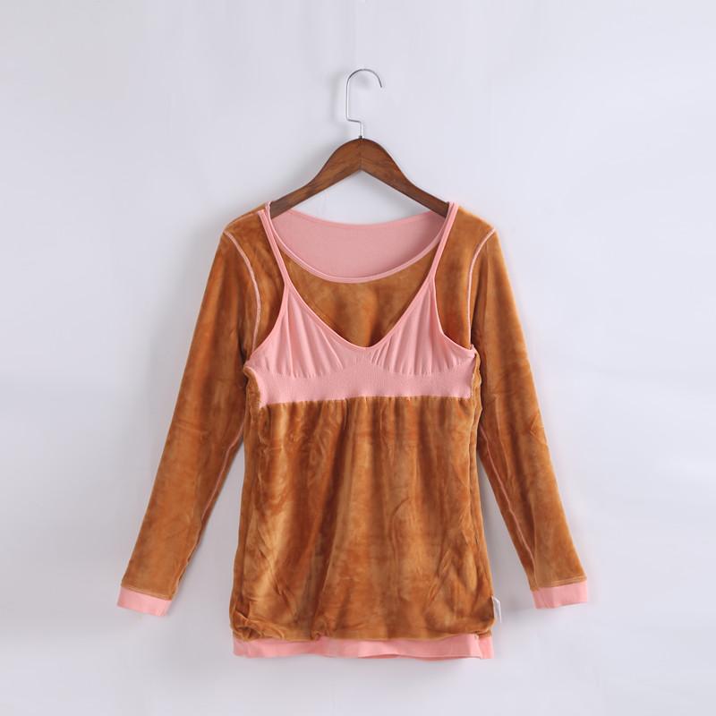 孕妇保暖内衣单件加绒加厚哺乳上衣产妇秋衣产后哺乳喂奶月子服冬
