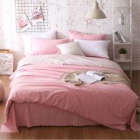 简约纯色床上用品1.8磨毛床单式全棉四件套1.5纯棉被套学生三件套