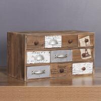 美式复古收纳柜摆件收纳箱多抽屉怀旧实木箱子摆设家居创意收纳盒首饰盒酒吧影楼陈列道具