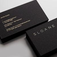 名片 定制 黑卡纸 烫金名片制作设计凹凸印刷名片定制 500g黑卡双面印专银 1000张10盒