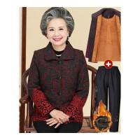 奶奶装秋装套装60-70-80岁中老年女装长袖妈妈装毛呢外套老人衣服