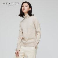 【1件5折价:249.5,可叠券】山羊绒羊毛混纺MECITY女装冬季袖口纽扣设计打底针织衫女