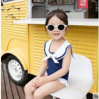 户外儿童公主海军风温泉度假游泳衣 泳衣女孩海边带帽可爱连体女童泳装