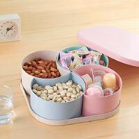 创意水果盘塑料糖果盘客厅美欧式 多功能家用零食干果盘分格带盖