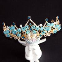 �和�皇冠�^�公主女童王冠水晶�{色艾莎冰雪奇��l箍生日演出�品MYZQ52 天�{色
