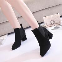 女鞋子秋冬季新款欧美尖头鞋绒面深口松紧套脚单鞋粗跟高跟鞋 黑色