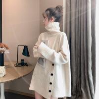 【 年终特惠】中长款毛衣女宽松外穿时尚毛线衣慵懒风套头高领韩版加厚2019新款 均码