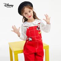 超品返场【4件2.2折:98.7元】迪士尼女童红色牛仔背带裤洋气2021春装纯棉米奇儿童宝宝裤子