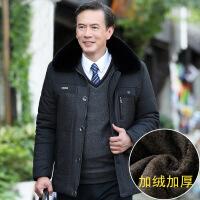 中老年人冬装外套冬季40岁男装爸爸50加绒加厚款棉袄中年棉衣 黑色 170