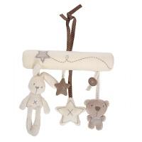 毛绒兔子摇铃婴儿车挂音乐床挂婴儿床上玩具挂件宝宝推车玩具