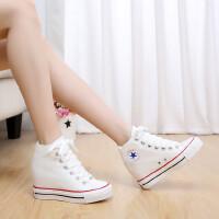 内增高女鞋帆布鞋厚底松糕鞋学生鞋简约高帮鞋隐形内增高鞋