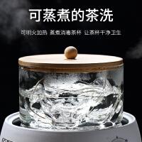 唐丰玻璃茶洗带竹盖可加热家用日式禅意水盂透明收纳茶碗简约笔洗