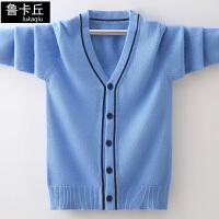 儿童洋气上衣中大童薄款外套春秋季男童开衫毛衣v领针织衫
