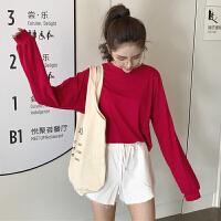 三木子快时尚女装~长袖圆领防晒T恤+百搭系带短裤