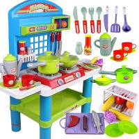 儿童过家家玩具套装 灯光音乐做饭过家家厨房玩具厨具 女孩玩具 大号厨房 蓝色
