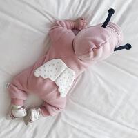 婴儿连体衣新生儿衣服外穿秋冬女7宝宝哈衣0动物6幼童爬服男3个月XM-1 粉红色 双层