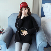 孕妇装秋装2018韩版宽松大码女装中长款卫衣女长袖时尚款孕妇上衣