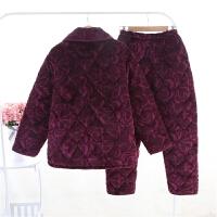 秋冬季长袖睡衣加厚珊瑚绒女士中老年人大码法兰绒家居服妈妈套装