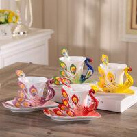 3D个性陶瓷创意孔雀骨瓷咖啡杯碟勺情人节对杯子欧式茶杯套装优雅