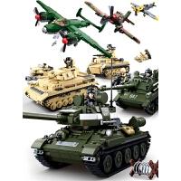 军事�犯呋�木拼图坦克男孩男童儿童益智拼装玩具6-10岁