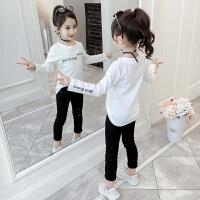 小女孩长袖童装白色上衣2019春秋季新款韩版儿童洋气女童卫衣
