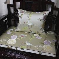 新中式花鸟红木实木家具沙发垫坐垫靠垫罗汉床圈椅垫海绵坐垫定做 红色 酒红色
