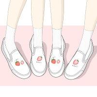 艾米与麦麦日系二次元网红草莓帆布鞋女一脚蹬厚底百搭超火可爱软妹板鞋2019春季新款学生小白鞋ins