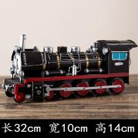 经典复古火车模型摆件怀旧铁皮老式蒸汽火车头模型酒吧咖啡厅家居摆件创意工艺品收藏