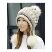 帽子女士冬天韩版潮百搭针织毛线帽冬季保暖加厚护耳帽时尚兔毛帽 均码有弹性